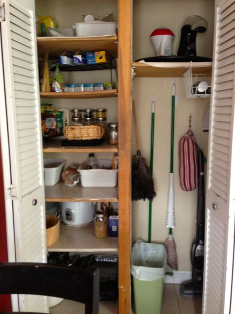 Organized pantry with trash can and mops