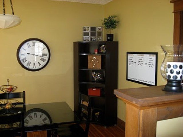 Living Room with clock and table