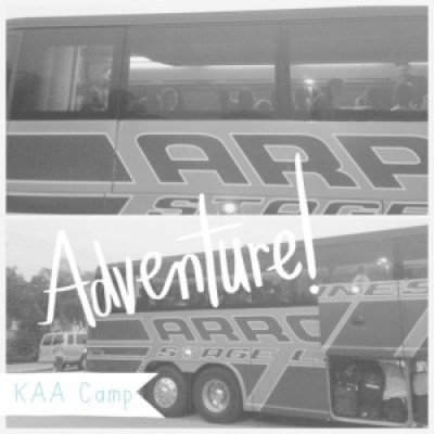 Bus leaving for summer camp adventure.