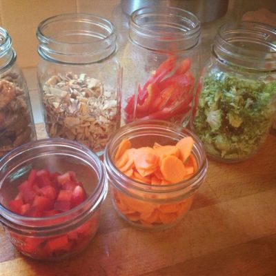 vegetables in mason jars