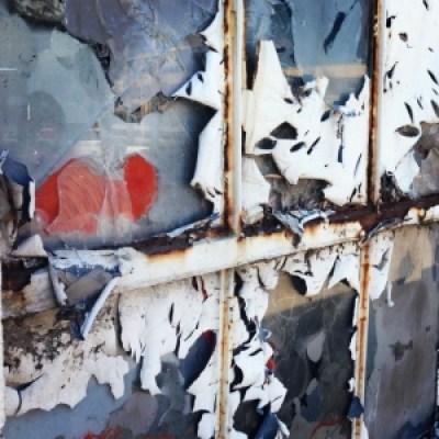 a broken window that looks like art