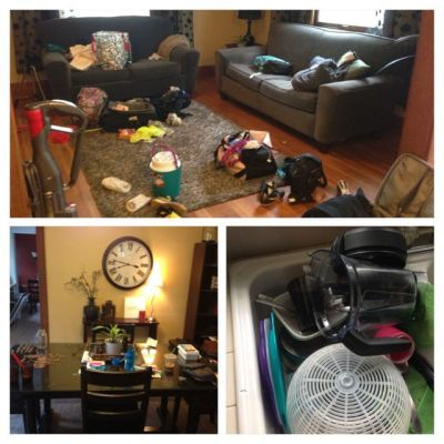 a messy livingroom, a sink full of dishes