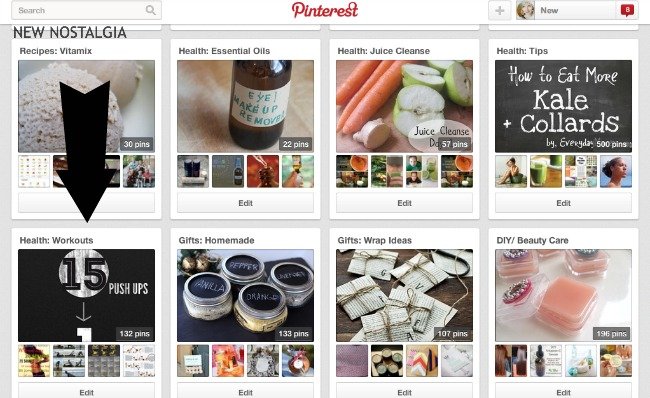 New Nostalgia Pinterest Boards with an arrow pointing to workout board