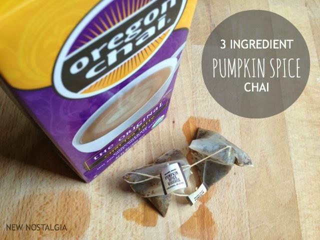 2 pumpkin spice rooibos tea bags, chai concentrate
