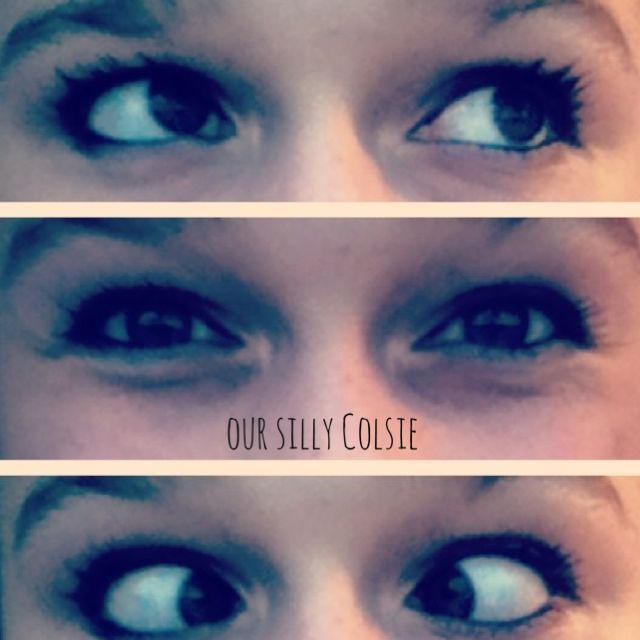 collage of little girls silly eyes
