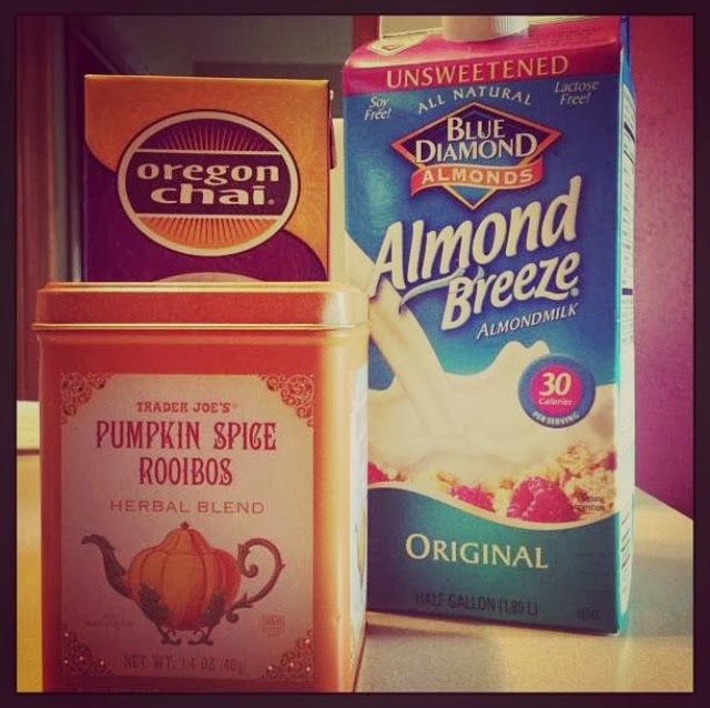 pumpkin spice rooibos tea, almond milk & chai concentrate
