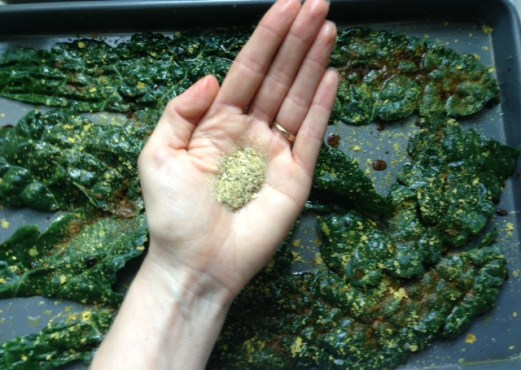 Grill seasoning on kale chips