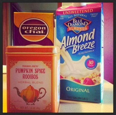pumpkin spice tea, box of chai & almond milk