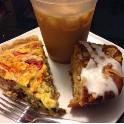 meadowlark coffee shop quiche, coffee and coffee cake