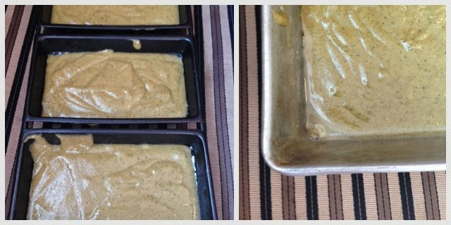 bread pans full of zucchini bread batter ready to bake