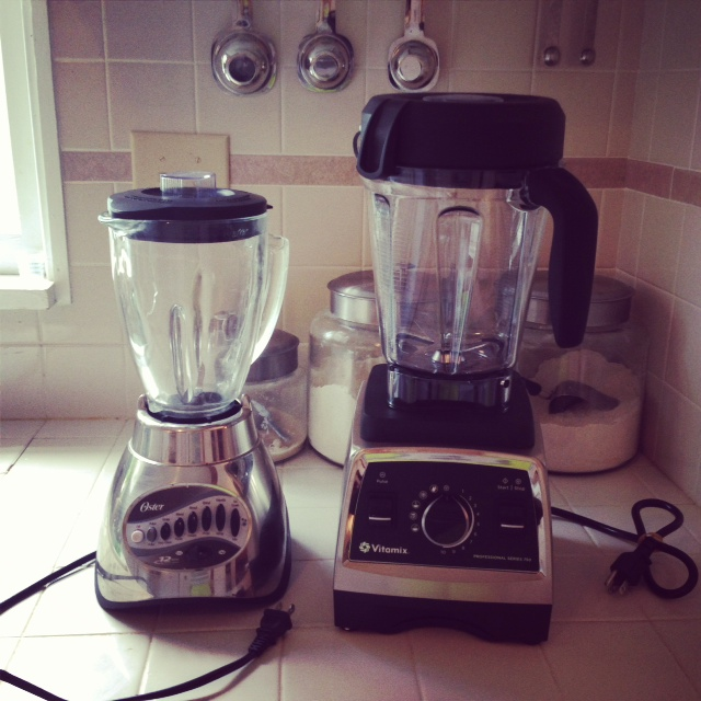Oster and New Vitamix blenders in kitchen.
