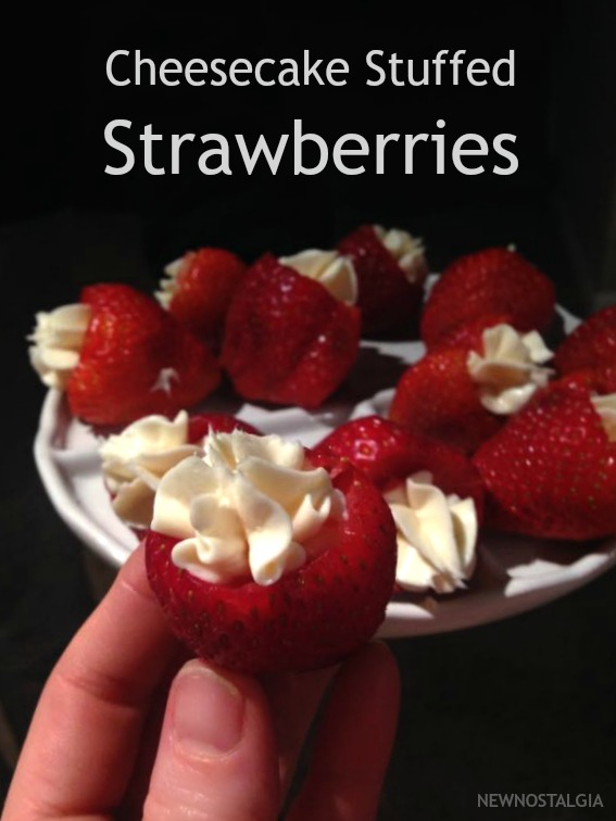 strawberries stuffed with cheesecake filling