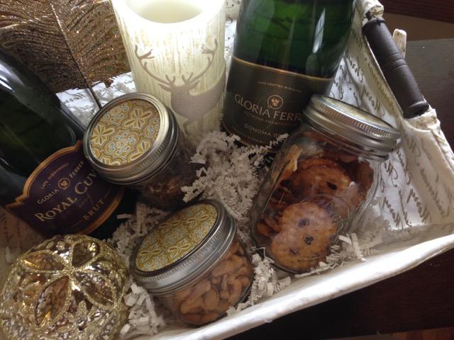 basket of mason jar snacks Gloria Ferrer wine