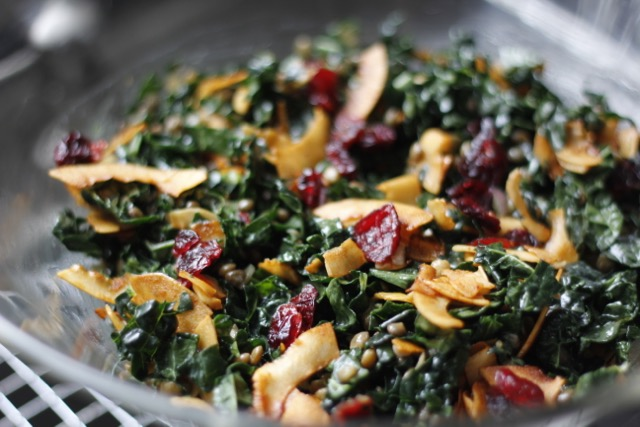 Coconut Bacon Kale Lentil Salad With Cranberries