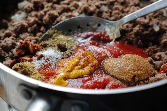 a pan full of ingredients for sloppy joes