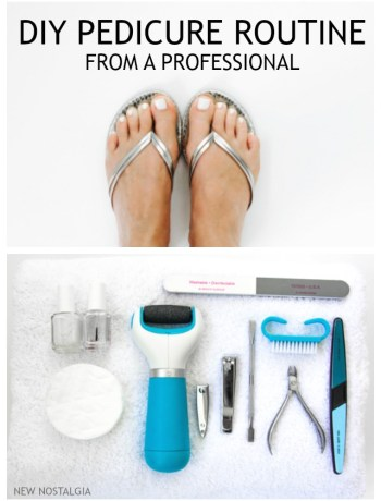 picture of feet and pedicure instruments.