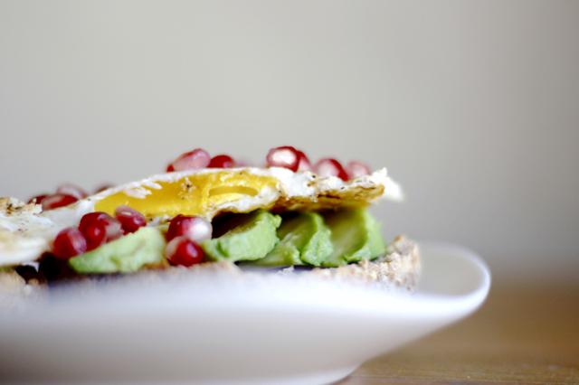 Avocado Pomegranate Egg Muffin breakfast