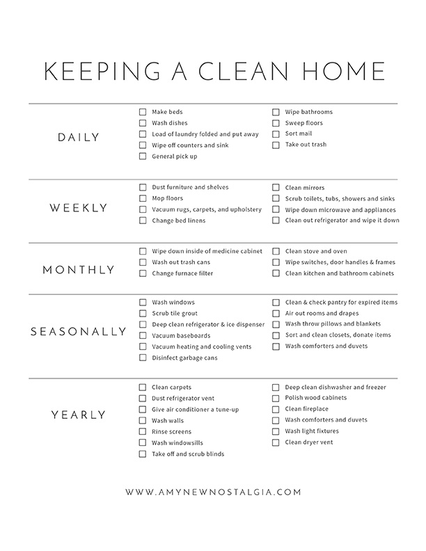 Home Cleaning Printable