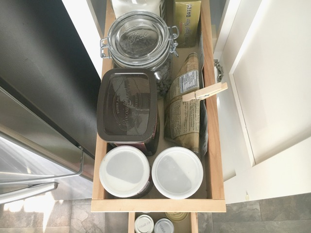 drawer organization for a clean pantry