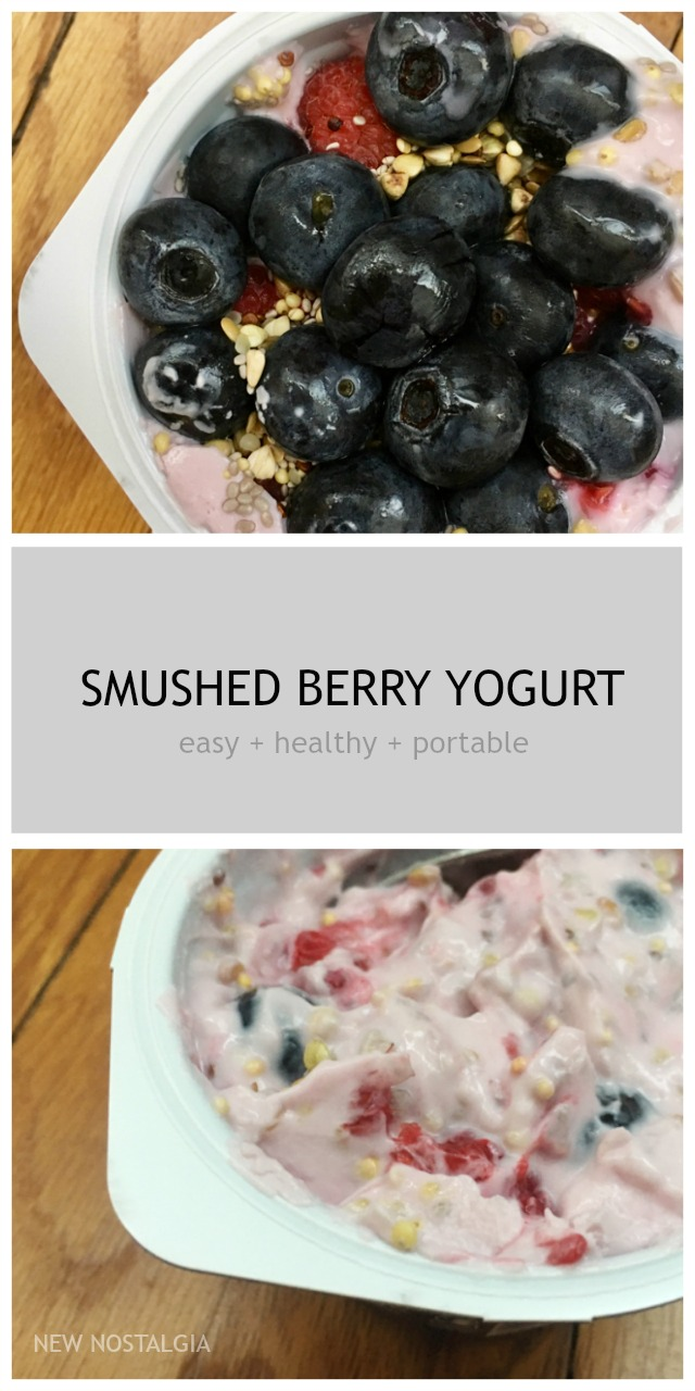 Smushed Berry Yogurt Cup for a healthy and easy to-go breakfast! Super filling full of protein and fiber.