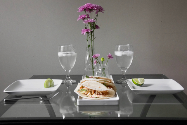Table Set For Two Baja Tacos