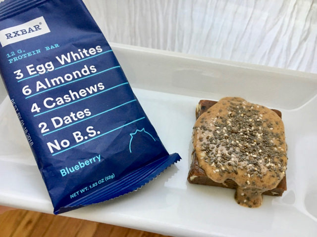 RX Protein Bar Topped with Nut Butter & Chia Seeds! Extra nutritious & filling.