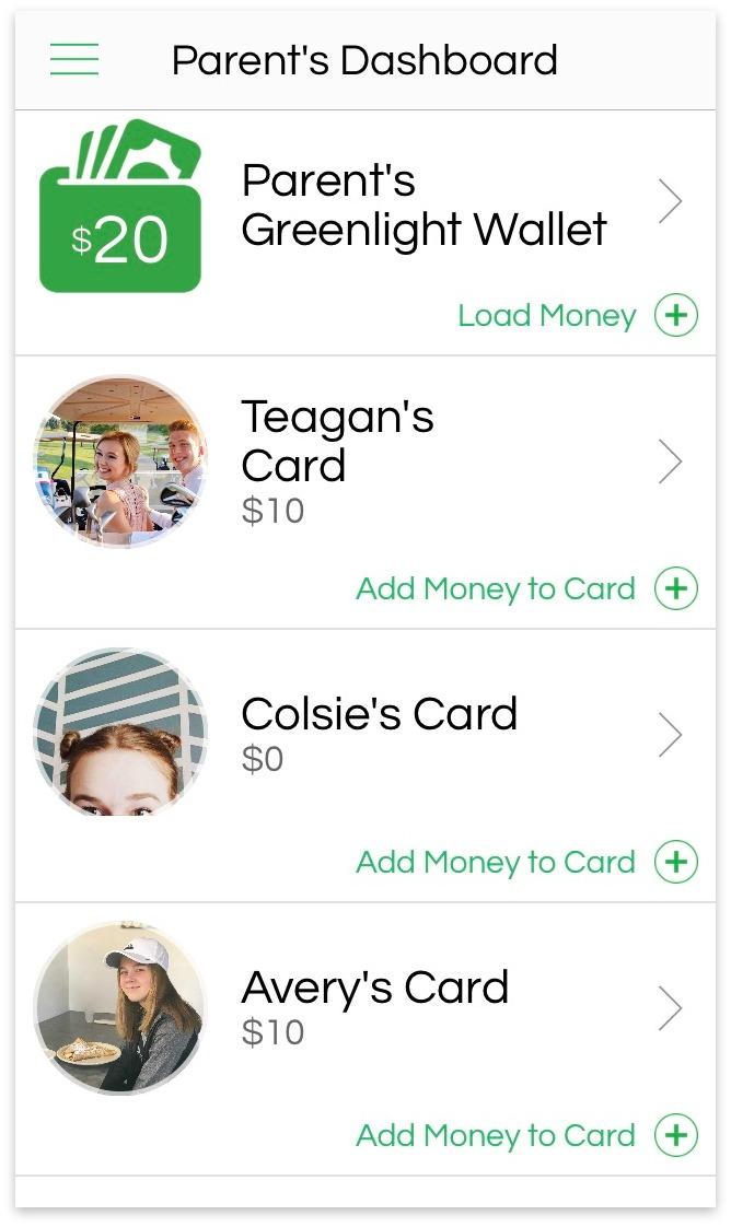 Greenlight, the smart debit card for kids; parents dashboard