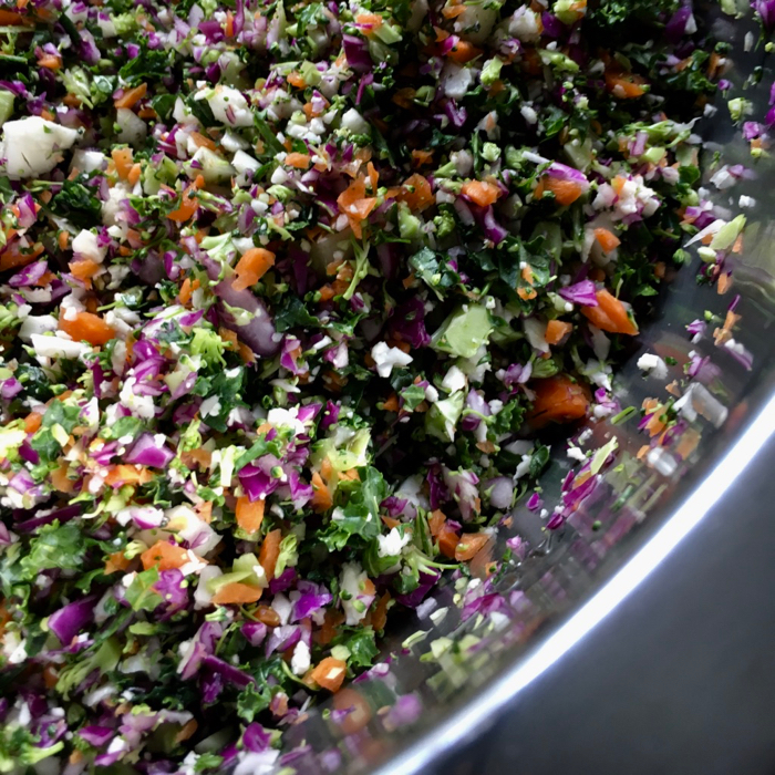 finely chopped vegetables in a bowl
