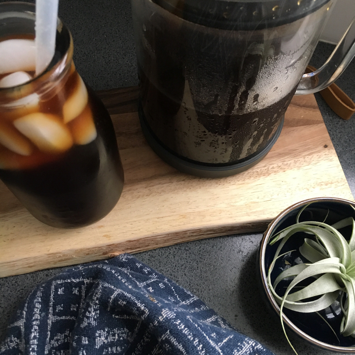 iced cold brew coffee and succulent