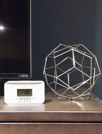 carbon monoxide detector on a shelf