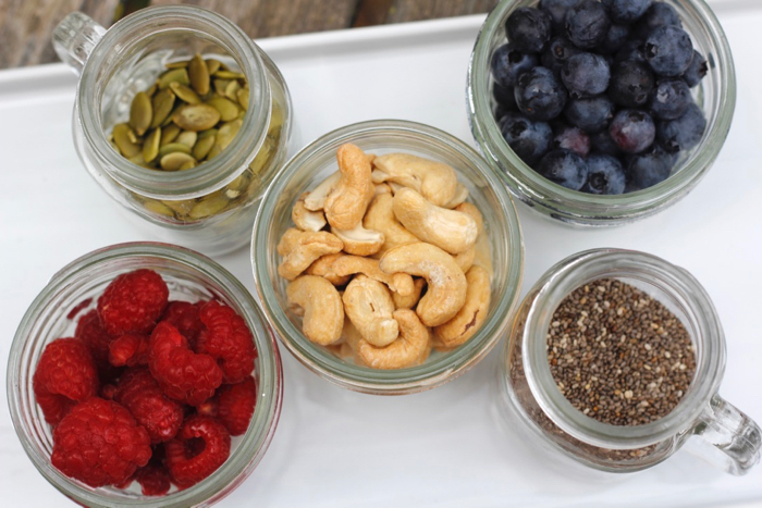jars of oatmeal toppings