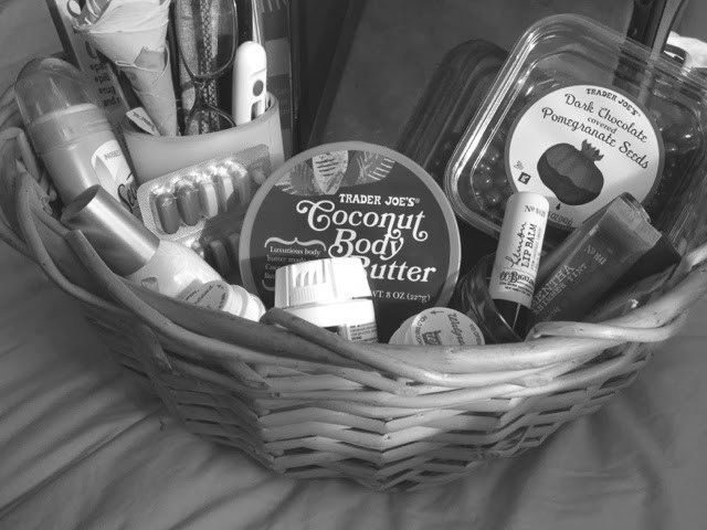 basket of items used while healing from surgery