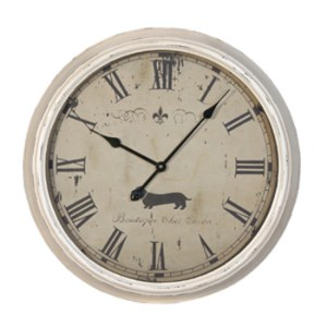 large-cream-distressed-dachshund-clock