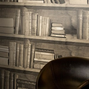 Young & Battaglia - Sepia Bookshelf Wallpaper