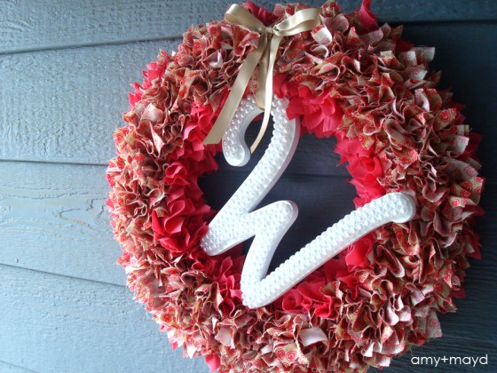 DIY beaded initial wreath