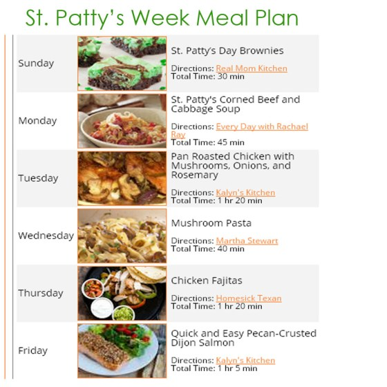 St. Patty's Week Meal PLan