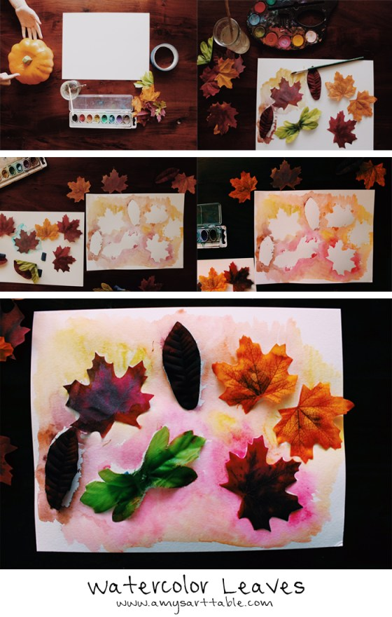 Watercolor Leaves project is the perfect Fall craft for kids of all ages. For instructions and ideas visit www.amysarttable.com