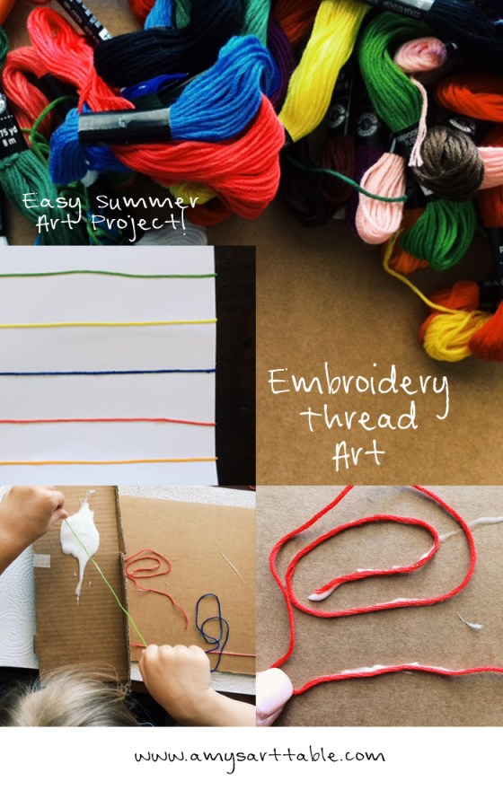 Glueing embroidery thread is a great way to practice fine motor skills, explore color and create abstract art. Read more about this project on Amy's Art Table