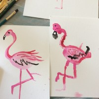 Watercolor Flamingo tutorial for kids!