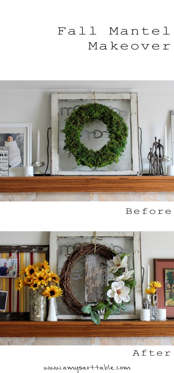 Check out my Fall mantel makeover on the blog this week. I made this fun ribbon art piece in Fall colors and added photos to personalize!