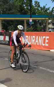 This is me at the end of the bike in Boulder. It's not close enough but my husband said I was pale and my lips were white. I felt terrible. I had a plan, then I adjusted that plan and it still wasn't enough. Ugh. Next time.