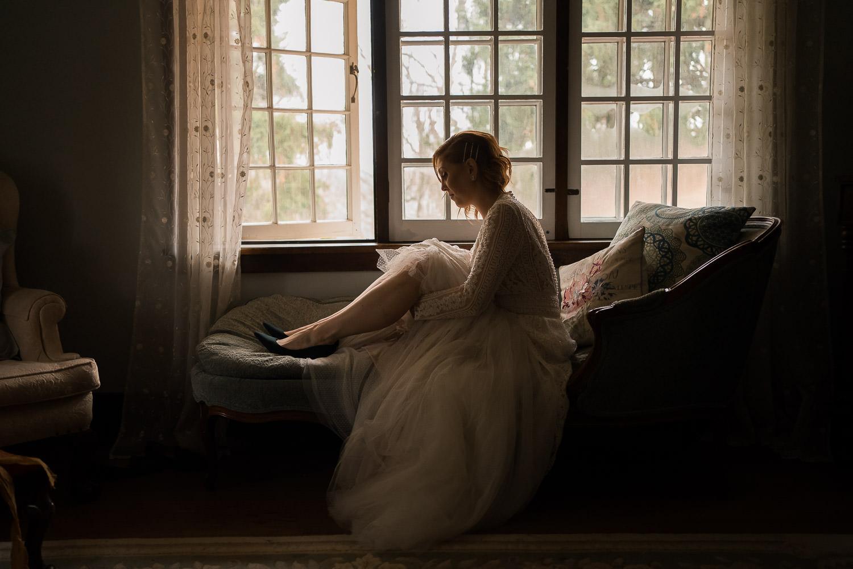 Romantic, dark and moody wedding portrait - kitchener wedding photographer