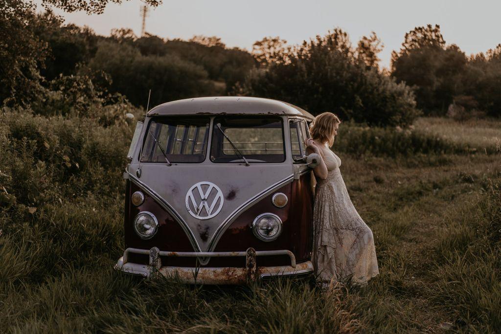 Bride with a VW Van