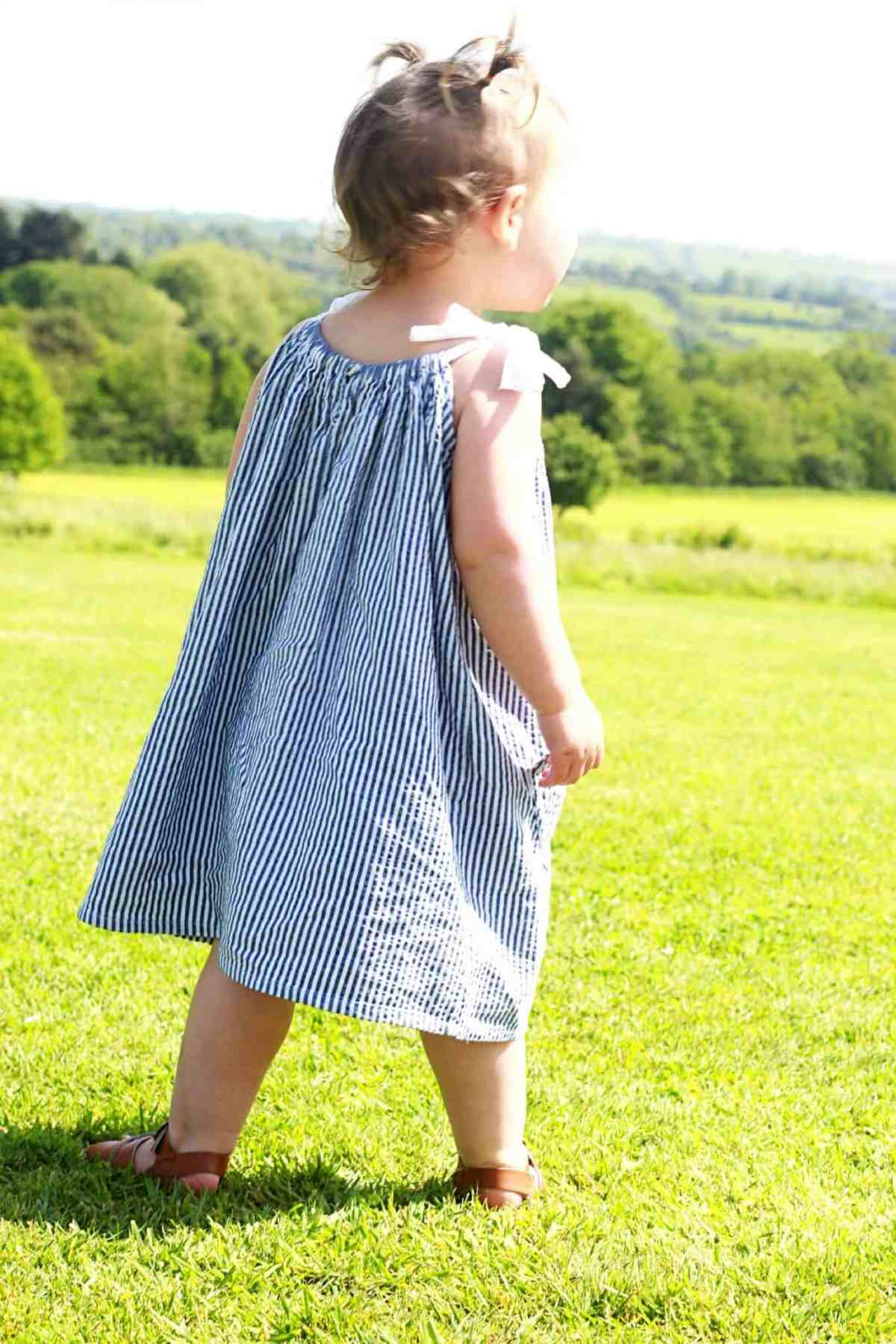 Sunna blue and white striped sundress back view