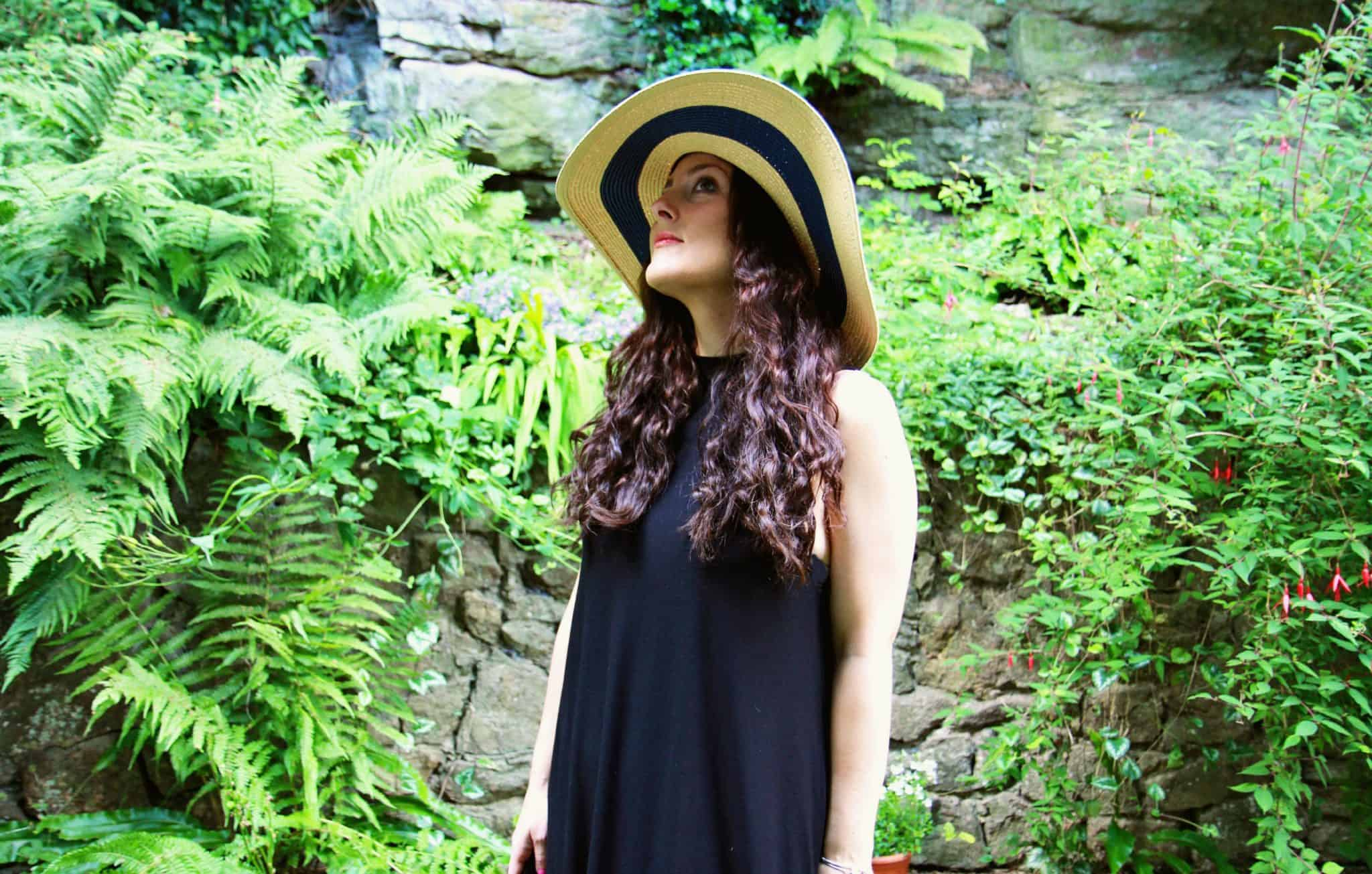 Black tiptop high neck dress, Jules striped floppy hat, red Saltwater sandals