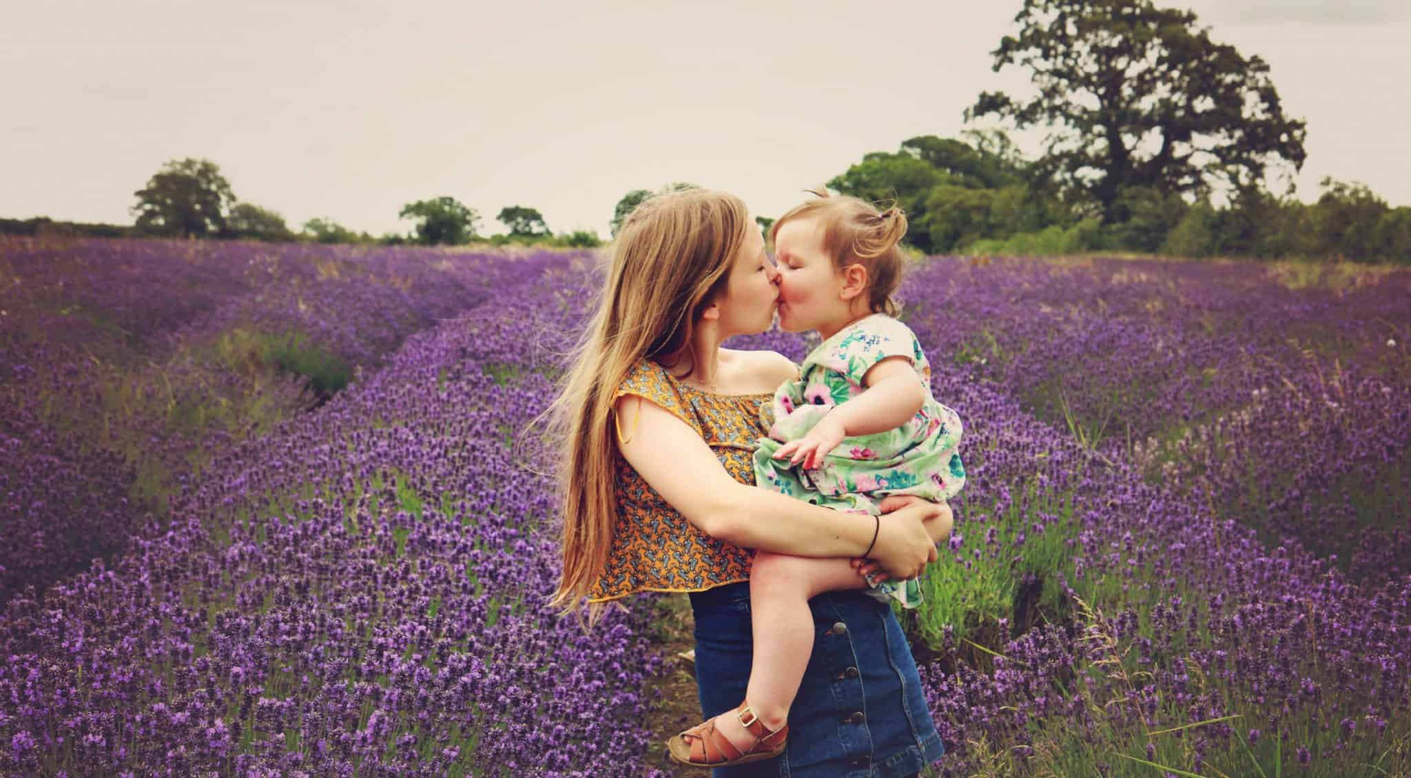 Sisters in a field of lavender print on wood made by WhiteWall