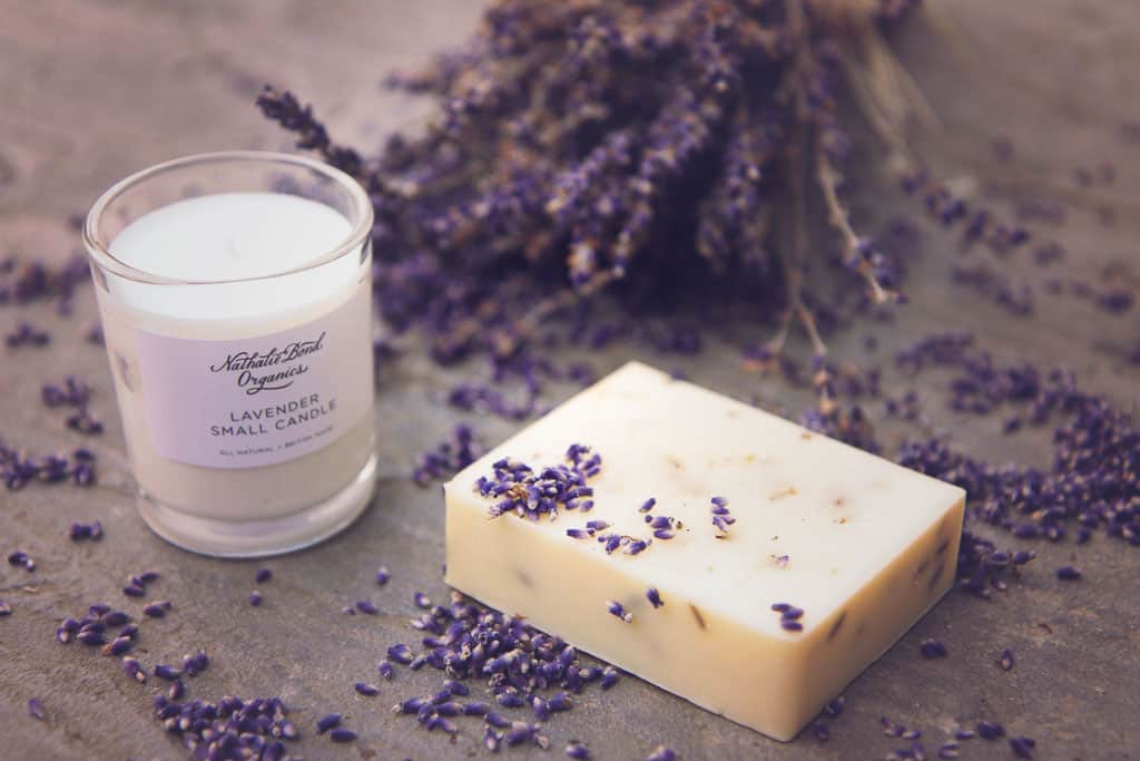 scented candle and soap from Nathalie Bond Organics