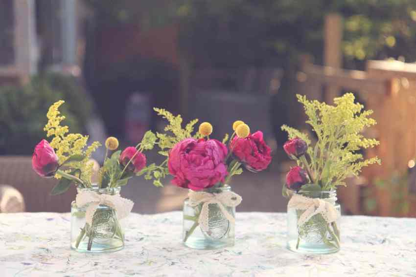 three posies made with pink peonies