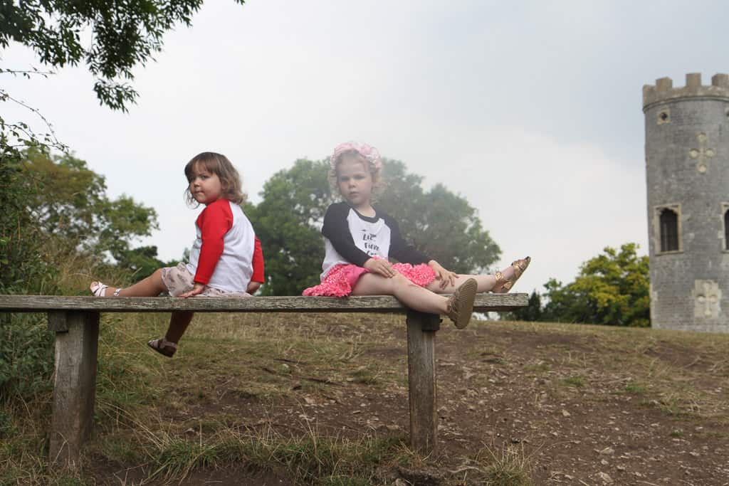 Baby and Rose on a bench