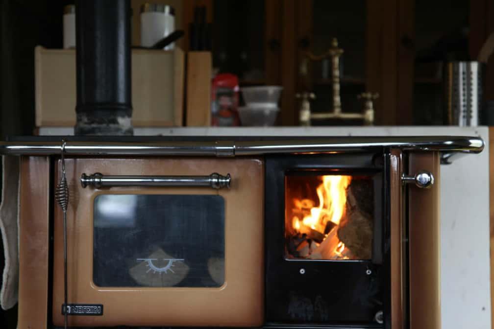 Wood burning stove inside luxury safari tent Crealy Adventure Park
